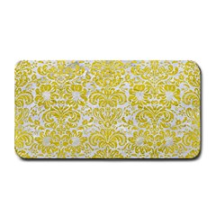 Damask2 White Marble & Yellow Leather (r) Medium Bar Mats by trendistuff