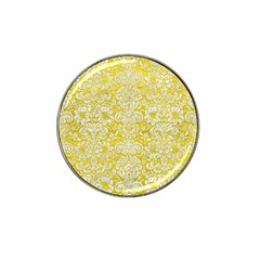 Damask2 White Marble & Yellow Leather Hat Clip Ball Marker (10 Pack) by trendistuff