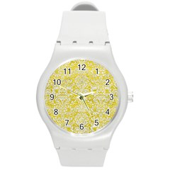 Damask2 White Marble & Yellow Leather Round Plastic Sport Watch (m) by trendistuff