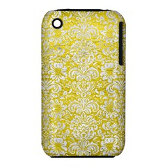 Damask2 White Marble & Yellow Leather Iphone 3s/3gs by trendistuff