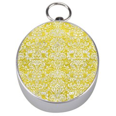 Damask2 White Marble & Yellow Leather Silver Compasses by trendistuff