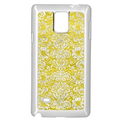 Damask2 White Marble & Yellow Leather Samsung Galaxy Note 4 Case (white) by trendistuff