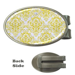 Damask1 White Marble & Yellow Leather (r) Money Clips (oval)  by trendistuff
