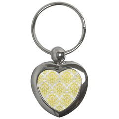 Damask1 White Marble & Yellow Leather (r) Key Chains (heart)  by trendistuff