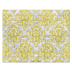 Damask1 White Marble & Yellow Leather (r) Rectangular Jigsaw Puzzl by trendistuff