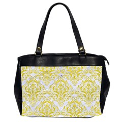 Damask1 White Marble & Yellow Leather (r) Office Handbags (2 Sides)  by trendistuff