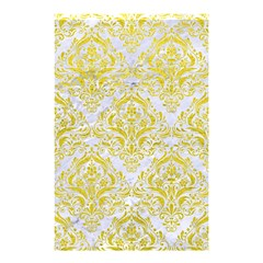 Damask1 White Marble & Yellow Leather (r) Shower Curtain 48  X 72  (small)  by trendistuff