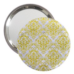 Damask1 White Marble & Yellow Leather (r) 3  Handbag Mirrors by trendistuff