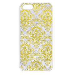 Damask1 White Marble & Yellow Leather (r) Apple Iphone 5 Seamless Case (white) by trendistuff