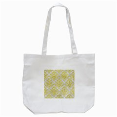Damask1 White Marble & Yellow Leather (r) Tote Bag (white) by trendistuff