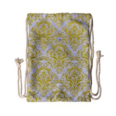 Damask1 White Marble & Yellow Leather (r) Drawstring Bag (small) by trendistuff