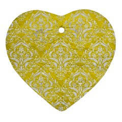 Damask1 White Marble & Yellow Leather Heart Ornament (two Sides)