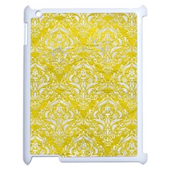 Damask1 White Marble & Yellow Leather Apple Ipad 2 Case (white) by trendistuff