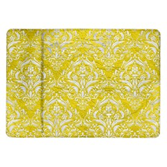 Damask1 White Marble & Yellow Leather Samsung Galaxy Tab 10 1  P7500 Flip Case by trendistuff