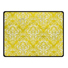 Damask1 White Marble & Yellow Leather Double Sided Fleece Blanket (small)  by trendistuff
