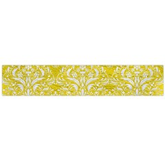 Damask1 White Marble & Yellow Leather Large Flano Scarf  by trendistuff