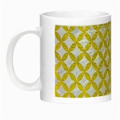 Circles3 White Marble & Yellow Leather (r) Night Luminous Mugs by trendistuff