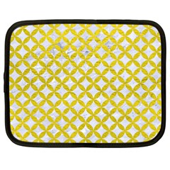 Circles3 White Marble & Yellow Leather (r) Netbook Case (xxl)  by trendistuff