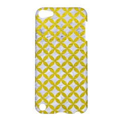 Circles3 White Marble & Yellow Leather (r) Apple Ipod Touch 5 Hardshell Case by trendistuff