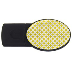 Circles3 White Marble & Yellow Leather Usb Flash Drive Oval (2 Gb) by trendistuff