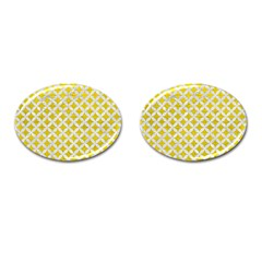 Circles3 White Marble & Yellow Leather Cufflinks (oval) by trendistuff