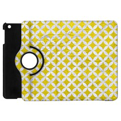 Circles3 White Marble & Yellow Leather Apple Ipad Mini Flip 360 Case by trendistuff