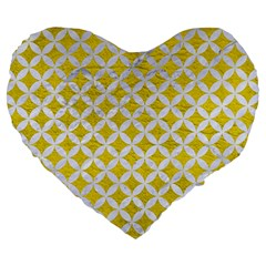 Circles3 White Marble & Yellow Leather Large 19  Premium Heart Shape Cushions by trendistuff
