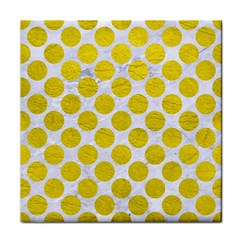 Circles2 White Marble & Yellow Leather (r) Tile Coasters by trendistuff