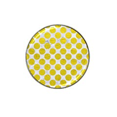 Circles2 White Marble & Yellow Leather (r) Hat Clip Ball Marker (10 Pack) by trendistuff