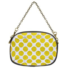 Circles2 White Marble & Yellow Leather (r) Chain Purses (one Side)  by trendistuff