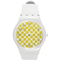 Circles2 White Marble & Yellow Leather (r) Round Plastic Sport Watch (m) by trendistuff