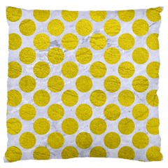Circles2 White Marble & Yellow Leather (r) Large Cushion Case (one Side) by trendistuff