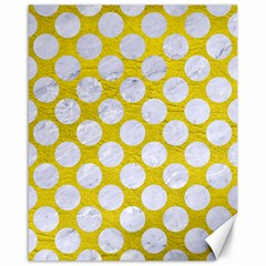 Circles2 White Marble & Yellow Leather Canvas 16  X 20   by trendistuff