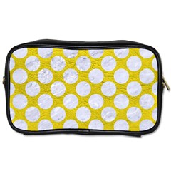 Circles2 White Marble & Yellow Leather Toiletries Bags by trendistuff