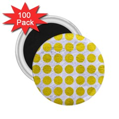 Circles1 White Marble & Yellow Leather (r) 2 25  Magnets (100 Pack)  by trendistuff
