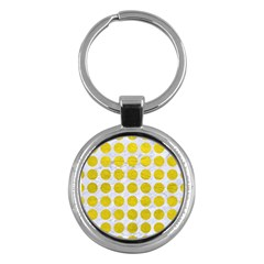 Circles1 White Marble & Yellow Leather (r) Key Chains (round)  by trendistuff