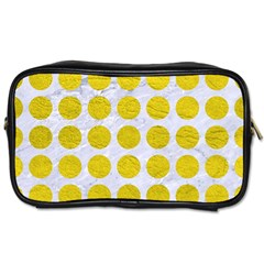 Circles1 White Marble & Yellow Leather (r) Toiletries Bags by trendistuff