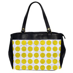 Circles1 White Marble & Yellow Leather (r) Office Handbags (2 Sides)  by trendistuff