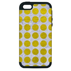 Circles1 White Marble & Yellow Leather (r) Apple Iphone 5 Hardshell Case (pc+silicone) by trendistuff