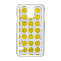 Circles1 White Marble & Yellow Leather (r) Samsung Galaxy S5 Case (white) by trendistuff