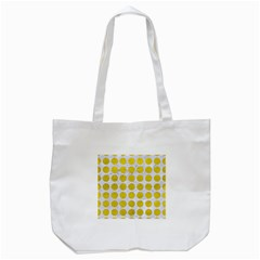 Circles1 White Marble & Yellow Leather (r) Tote Bag (white) by trendistuff