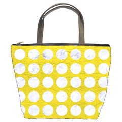 Circles1 White Marble & Yellow Leather Bucket Bags by trendistuff