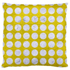 Circles1 White Marble & Yellow Leather Standard Flano Cushion Case (two Sides) by trendistuff