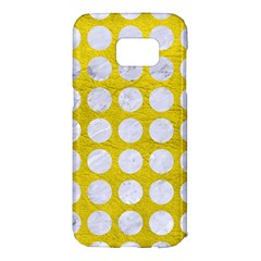 Circles1 White Marble & Yellow Leather Samsung Galaxy S7 Edge Hardshell Case by trendistuff