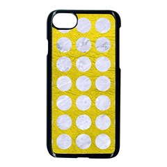 Circles1 White Marble & Yellow Leather Apple Iphone 7 Seamless Case (black) by trendistuff