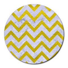 Chevron9 White Marble & Yellow Leather (r) Round Mousepads by trendistuff