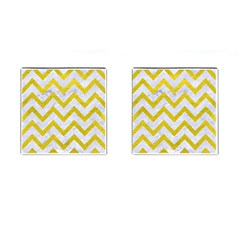 Chevron9 White Marble & Yellow Leather (r) Cufflinks (square) by trendistuff