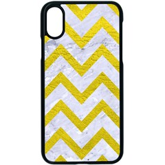 Chevron9 White Marble & Yellow Leather (r) Apple Iphone X Seamless Case (black)