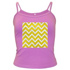 Chevron9 White Marble & Yellow Leather Dark Spaghetti Tank
