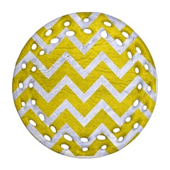 Chevron9 White Marble & Yellow Leather Ornament (round Filigree) by trendistuff